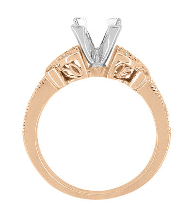 Side Filigree on Rose Gold Antique Style Ring Setting for a Square Princess Cut Diamond  - R850PR75R