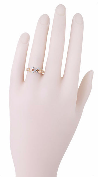 R850PR75R Rose Gold Butterflies Square Vintage Ring Setting on a Hand