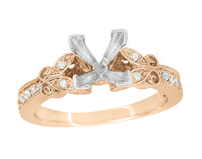 Art Deco Filigree Butterfly 3/4 Carat Princess Cut Diamond Engagement Ring Setting in 14 Karat Rose Gold - Item: R850PR75R - Image: 1