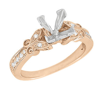 14 Karat Rose Gold Art Deco Filigree Butterfly 3/4 Carat Princess Cut Diamond Semimount Engagement Ring