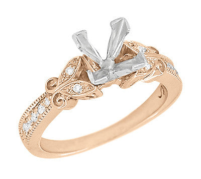 Rose Gold Antique Ring Setting for Princess Cut Diamond with Butterfiles on Sides - R850PR75R