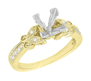 Art Deco Filigree Butterflies Yellow Gold 3/4 Carat Princess Cut Diamond Engagement Ring Setting