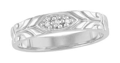 Jadan Mid Century Modern Vintage Style Men's Diamond Wedding Band in 14K White Gold