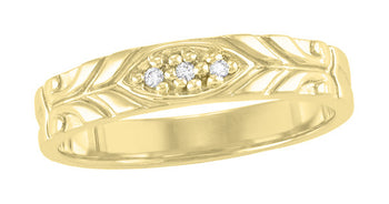 Jadan 1950's Vintage Design Gent's Diamond Wedding Band in 14K Yellow Gold