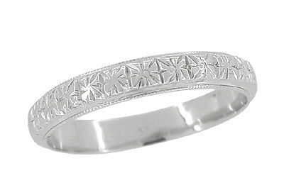 Art Deco Flowers Millgrain Edged Antique Wedding Band in 18 Karat