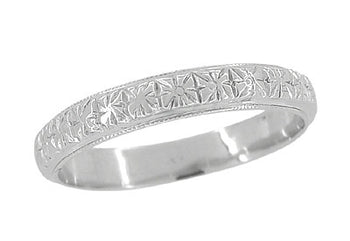 Art Deco Flowers Millgrain Edged Antique Wedding Band in 18 Karat White Gold - Size 8 1/2