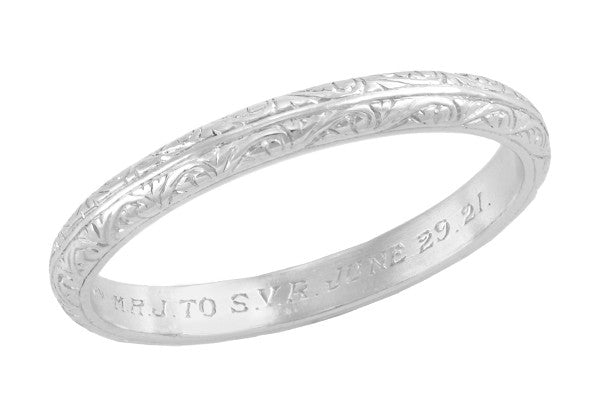 1920s Vintage Scroll Engraved Heirloom Platinum Wedding Band Size