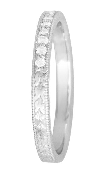 Art Deco Diamond Engraved Wheat Wedding Band in 14K or 18 Karat White Gold - Item: R858W14D - Image: 2