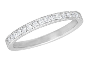 Art Deco Diamond Engraved Wheat Wedding Band in 18 Karat White Gold