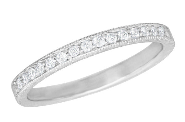 Art Deco Diamond Engraved Wheat Wedding Band in 14K or 18 Karat White Gold