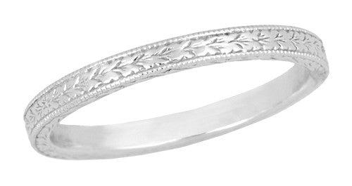 Art deco engraved wheat vintage style wedding band in platinum art deco engraved wheat vintage style wedding band in platinum junglespirit Image collections