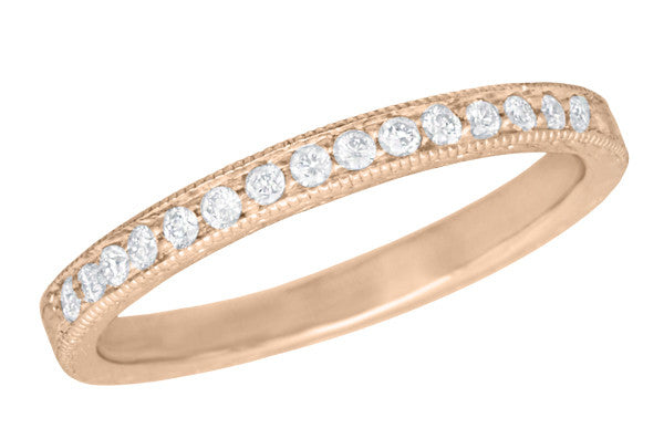 Art Deco Vintage Engraved Wheat Diamond Wedding Band in 14K Rose