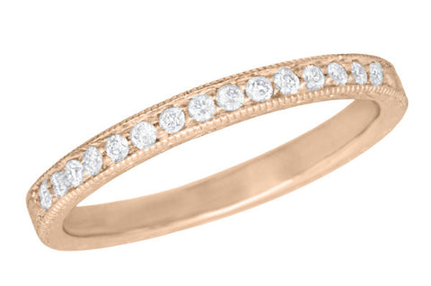 Art Deco Vintage Engraved Wheat Diamond Wedding Band In 14K Rose Gold Pink