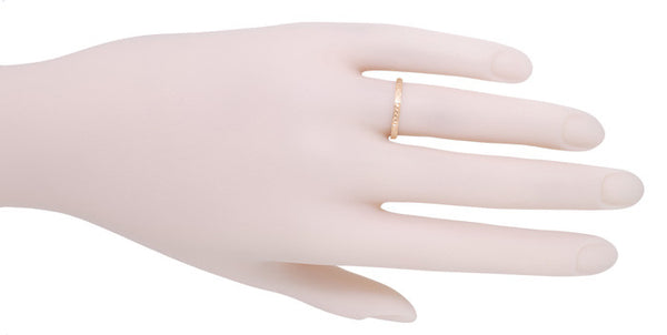 Art Deco Engraved Wheat Wedding Band in 14 Karat Rose ( Pink ) Gold - Item: R858RND - Image: 3