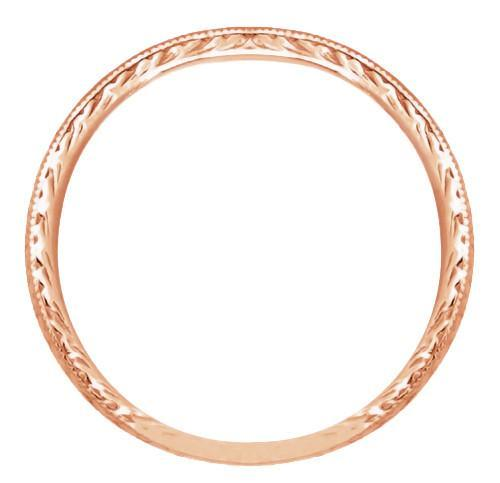 Art Deco Engraved Wheat Wedding Band in 14 Karat Rose ( Pink ) Gold - Item: R858RND - Image: 1