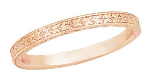 Art Deco Engraved Wheat Wedding Band in 14 Karat Rose ( Pink ) Gold - Item: R858RND - Image: 2