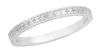 Art Deco Engraved Wheat Wedding Band in 10 Karat White Gold