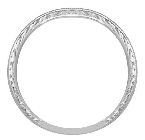 Art Deco Engraved Wheat Wedding Band in 14 Karat White Gold - Item: R858W14ND - Image: 1