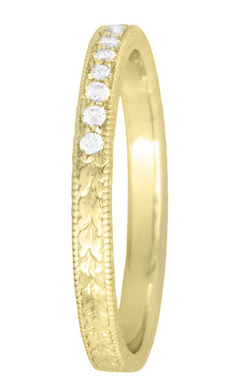 Art Deco Vintage Engraved Wheat Diamond Wedding Band in 14K Yellow Gold - Item: R858YD - Image: 2