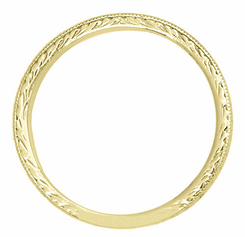 Art Deco Vintage Engraved Wheat Diamond Wedding Band in 14K Yellow Gold - Item: R858YD - Image: 1