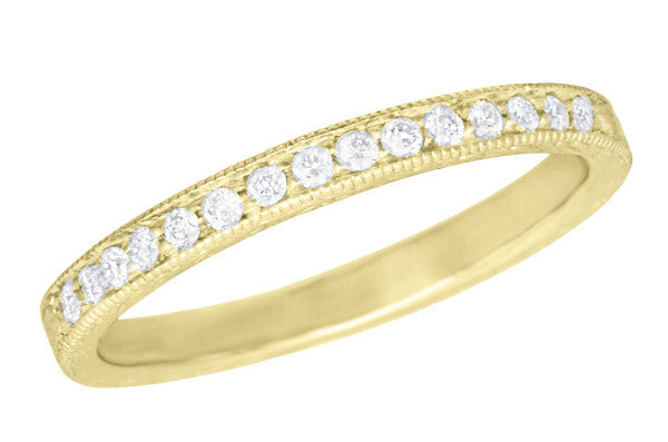 Art Deco Vintage Engraved Wheat Diamond Wedding Band in 14K Yellow Gold