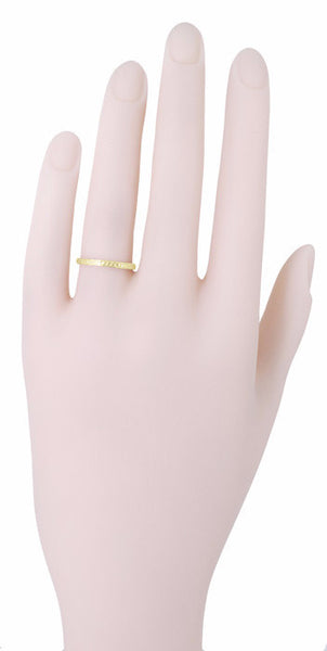 Art Deco Engraved Wheat Wedding Band in 14 Karat Yellow Gold - Item: R858YND - Image: 2