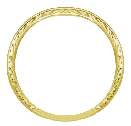 Art Deco Engraved Wheat Wedding Band in 14 Karat Yellow Gold - Item: R858YND - Image: 1