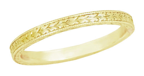 Art Deco Engraved Wheat Wedding Band in 14 Karat Yellow Gold
