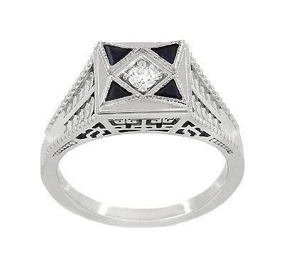 Art Deco Engraved Filigree 4 Stone Blue Sapphire and Diamond Antique Style Ring in 18 Karat White Gold - Item: R862 - Image: 2