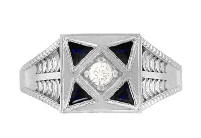 Art Deco Engraved Filigree 4 Stone Blue Sapphire and Diamond Antique Style Ring in 18 Karat White Gold - Item: R862 - Image: 4