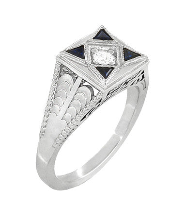 Art Deco Engraved Filigree 4 Stone Blue Sapphire and Diamond Antique Style Ring in 18 Karat White Gold - Item: R862 - Image: 1