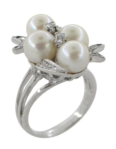 Vintage Pearl and Diamond Retro Moderne Cluster Cocktail Ring in 14 Karat White Gold - Item: R864 - Image: 1