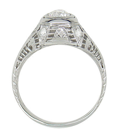 Art Deco Antique Diamond Filigree Engagement Ring in 18 Karat White Gold - Item: R866 - Image: 2