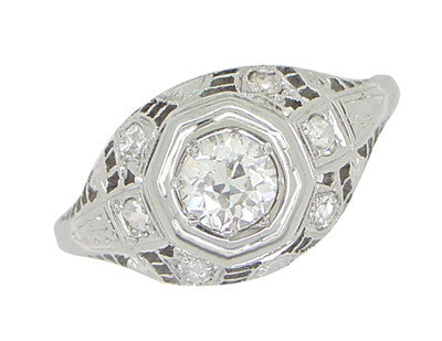 Art Deco Antique Diamond Filigree Engagement Ring in 18 Karat White Gold - Item: R866 - Image: 3