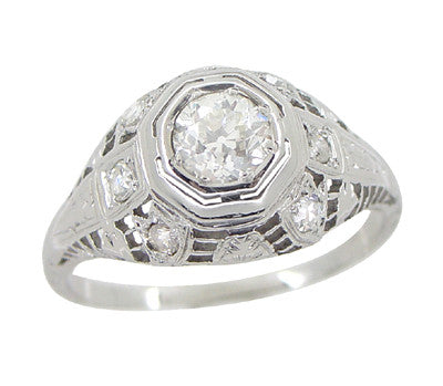 Art Deco Antique Diamond Filigree Engagement Ring in 18 Karat White Gold - Item: R866 - Image: 4