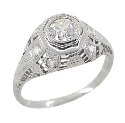 Art Deco Antique Diamond Filigree Engagement Ring in 18 Karat White Gold