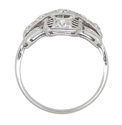 Platinum Art Deco Filigree Cross Diamond Antique Engagement Ring - Item: R867 - Image: 2