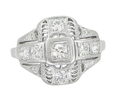 Platinum Art Deco Filigree Cross Diamond Antique Engagement Ring - Item: R867 - Image: 1