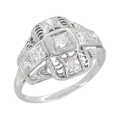Platinum Art Deco Filigree Cross Diamond Antique Engagement Ring