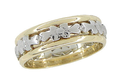 Antique Floral Filigree Wedding Ring in 14 and 18 Karat White & Yellow Gold - Size 6 - Item: R877 - Image: 1