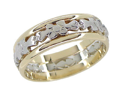Antique Floral Filigree Wedding Ring in 14 and 18 Karat White & Yellow Gold - Size 6