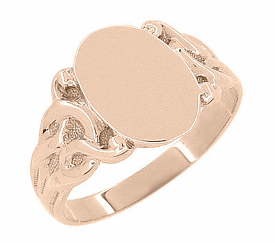 Art Nouveau Scrolling Vines Oval Signet Ring in 14 Karat Rose ( Pink ) Gold - Item: R878R - Image: 2