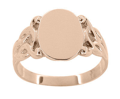 Art Nouveau Scrolling Vines Oval Signet Ring in 14 Karat Rose ( Pink ) Gold - Item: R878R - Image: 1