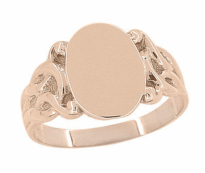 Art Nouveau Scrolling Vines Oval Signet Ring in 14 Karat Rose ( Pink ) Gold