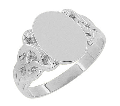 Art Nouveau Vines Oval Signet Ring in 14 Karat White Gold - Item: R878W - Image: 2