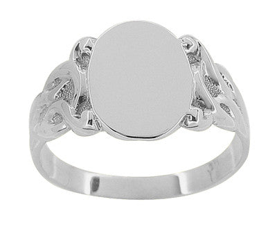 Art Nouveau Vines Oval Signet Ring in 14 Karat White Gold - Item: R878W - Image: 1