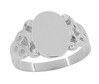 Art Nouveau Vines Oval Signet Ring in 14 Karat White Gold