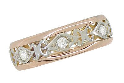 Buckland Filigree Diamond Antique Wedding Ring in 14 Rose ( Pink ) and White Gold - Size 6 1/2 - Item: R879 - Image: 1