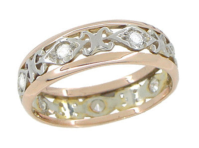 Buckland Filigree Diamond Antique Wedding Ring in 14 Rose ( Pink ) and White Gold - Size 6 1/2