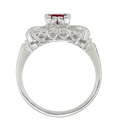 Ruby and Diamond Art Deco 18 Karat White Gold Engagement Ring - Item: R880 - Image: 3